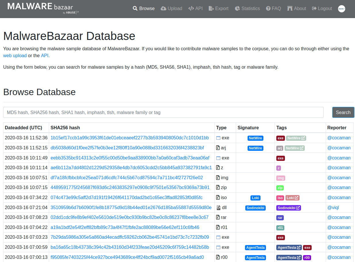 Screenshot of bazaar.abuse.ch