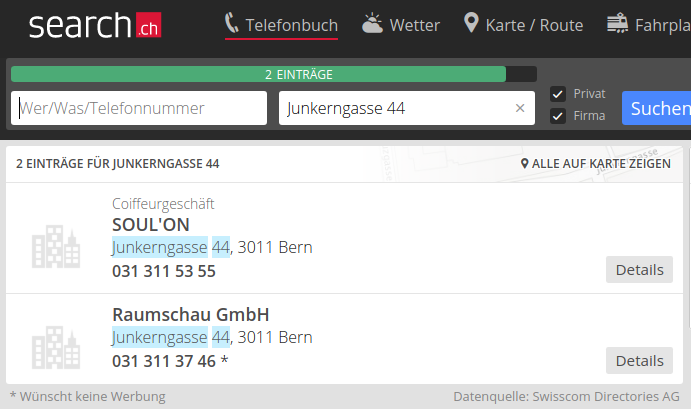 Phone book search for Junkerngasse 44